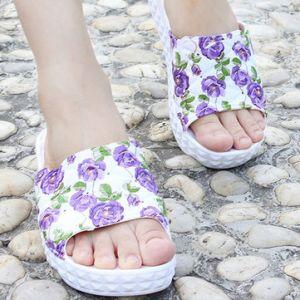 Floral Print Platform Slip On Peep Toe Summer Outdoor Beach Slippers