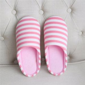 Striped Cotton House Indoor Warm Soft Anti Slip Home Floor Slippers