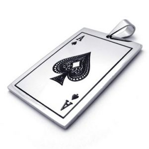 Spades A Poker Stainless Steel Necklace Pendant
