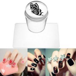 Silicone Clear Stamper Scraper Printer Kit Nail Art Manicure Tools DIY Design With Cap