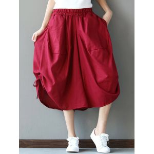 Loose Solid Folk Style Pocket Side Slit Women Pants