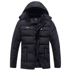 Outdoor Casual Thicken Warm Multi-Pockets Detachable Hood Padded Jacket For Men