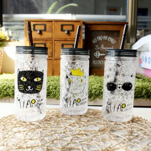 Fashion Cartoon Cylinder Chest Cold Cup Creative Eco Double Layer Summer Drink Cup