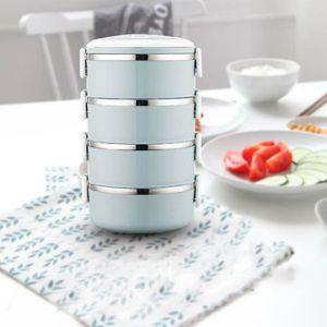 1/2/3/4 Tier Stainless Steel Metal Bento Lunch Box Insulated Thermal Food Containers