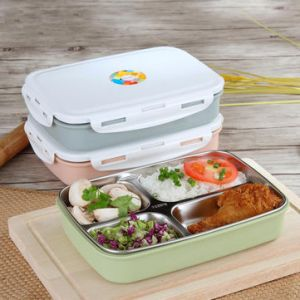 Stainless Steel Lunch Boxs Containers Microwave Bento Box For Kids Water Heating Insulation