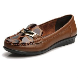Leopard Genuine Leahter Flat Closed Slip On Soft Loafers