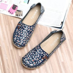 SOCOFY Leopard Leather Soft Printing Slip On Lazy Shoes