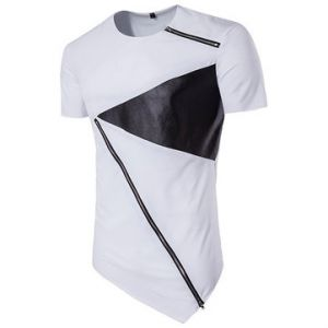 Mens Summer Hip-Hop Hit Color Zipper Tops O-neck Short Sleeve Casual Cotton T-shirt