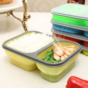 Foldable Silicone Lunch Box BPA Free Bento Collapsible Food Container Tableware