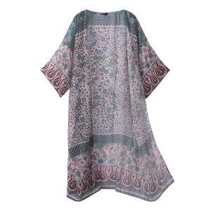 Sexy Women Floral Printed Half Sleeve Cover Ups Beach Chiffon Kimono