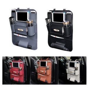 Leather Car Seat Storage Bag Outdoors Hanging Bag Umbrella Drink Holders Organize Containers