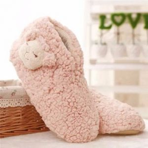 Winter Lamb Ear Ankle Slip On Cute Flat Home Slippers
