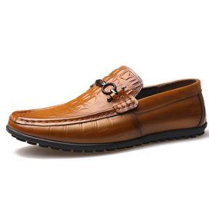 Men Rivet Decoration Crocodile Pattern Soft Doug Shoes Slip On Casual Loafers