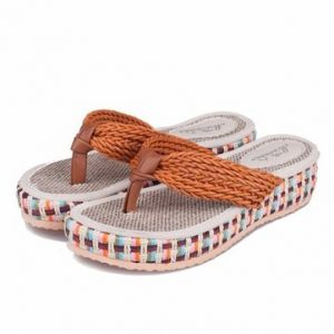 Fashion Knitting Clip Toe Slip On Platform Slippers