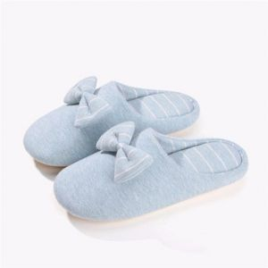 Stripe Home Indoor Bowknot Flat Slip On Warm Winter Slippers