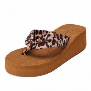 Stripe Ball Dot Leopard Clip Toe Platform Beach Flip Flops Slippers