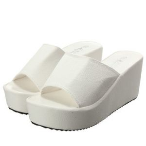White Leather Fish Mouth Peep Toe Platform Slip On Outdoor Slippers