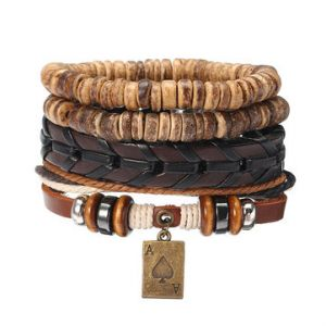 Men's Punk Bracelet Retro Multilayer Woven Shell Poker Leather Bracelet