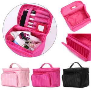Large Capacity Makeup Storage Bag Nail Cosmetic Box Jewelry Stripe Vanity Case 3 Colors