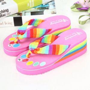 Rainbow Platform Slip On Clip Toe Outdoor Beach Slippers