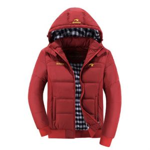 Winter Outdoor Casual Thicken Chest Logo Detachable Hood Padded Jacket For Men