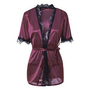 Sexy Lace Hem Silky Smooth Kimono Bathrobe Nightwear