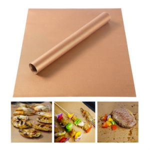 2pcs  Copper Chef Non Stick BBQ Grill Bake Mat Nonstick Baking Barbecue Sheet Plate Outdoor Reusable