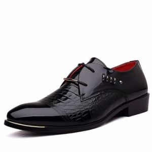 Men Metal Plaid Crocodile Pointed Toe Black Lace Up Formal Business Shoes