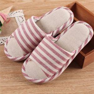 Color Macth Stripe Slip On Peep Toe Flat Home Slippers