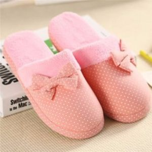 Indoor Bowknot Ball Dot Cute Slip On Home Flat Slippers