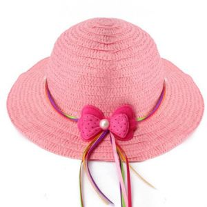 Lovely Girls Summer Casual Hollow Cap Beach Sun Straw Hat 6 Candy Color Bow Kids Accessories