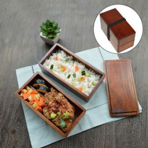 Japanese Traditional Natural Wooden Bento Sushi Lunch Box Double 2 Layers Square