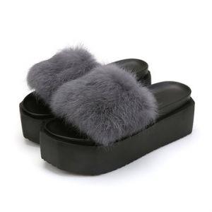 Fur Soft Platform Slippers
