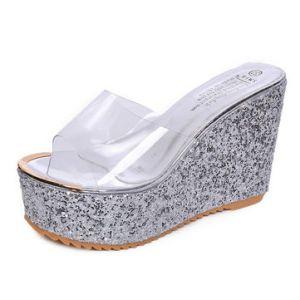 Silver Transparent Shiny Peep Toe Platform Slippers