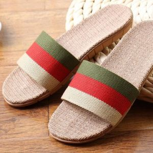 Stripe Rainbow Color Match Flax Slip On Flat Indoor Bathroom Home Slippers