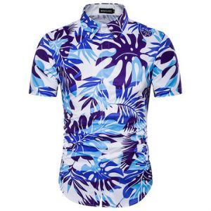 Hawaii Style 3D Palm Tree Printing Beach Band Collar Dress Shirts for Men