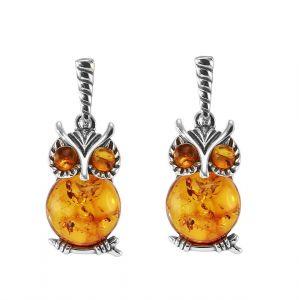 Boucles d oreilles pendantes argent chouette et ambre - Bijoux Femme