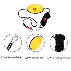 Accessoire 1pc Kayak dérive ancre Tow corde de remorquage ligne 9,1 m / 30ft Long Nylon corde inox Clips Kayak