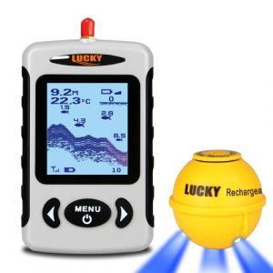 LUCKY Portable Sondeur professionnel Sonar sans fil Recherche de poissons Détecteur de sonde de pêche Fishfinder with Dot Matrix