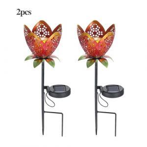 Lampe à flamme de lanterne à gazon à fleurs à DEL solaire