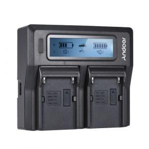 Andoer NP-F970 Chargeur de batterie pour appareil photo numérique à double canal Écran LCD pour Sony NP-F550 / F750 / F950 / NP-FM50 / FM500H / QM71 avec chargeur de voiture CC