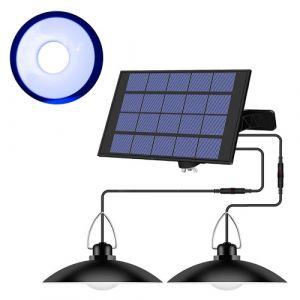 Luminaire suspendu à énergie solaire avec panneau réglable Capteur d'éclairage marche / arrêt automatique IP65 Lampe suspendue résistante à l'eau pour le stockage de jardin extérieur / intérieur