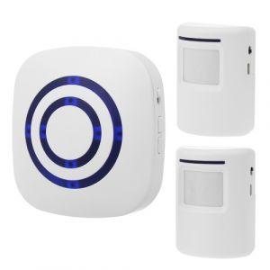 Détecteur de mouvement intelligent Alarme Sonnette sans fil Sonnette enfichable Sonnette de sécurité à domicile Détecteur infrarouge Kits d'alerte avec 2 capteurs PIR 1 récepteur 38 indicateurs de sonnerie