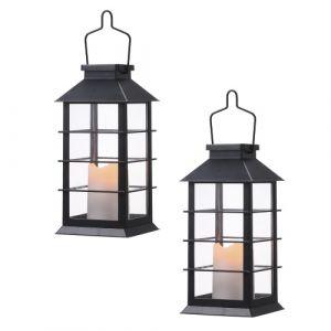 Tomshine Vintage Style lanterne à énergie solaire allume la flamme scintillante feu bougie lampe à LED éclairage décoratif suspendu extérieur pour jardin patio