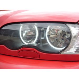 KKmoon 4pcs 131 MM + 146 MM LED lampe réflecteur CCFL yeux de l'ange bagues Kit de lampe de auréolé de 6000K pour BMW Série 3 E46 bleu/blanc