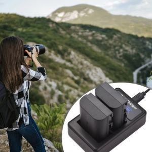 LP-E6/E6N Batterie & Chargeur Kit 2pcs 7.4V 2650mAh Batterie + 1pc LED2-LPE6 Chargeur de Batterie pour Appareil Photo Double Canal Port USB Écran LCD Remplacement pour Canon EOS 5D Mark II/III/IV 6D 7D 60D 70D 80D
