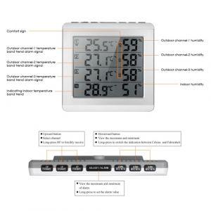 Hygromètre à thermomètre LCD sans fil pour intérieur / extérieur