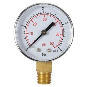 """50mm 0 ~ 60psi 0 ~ 4bars Piscine Filtre Pression d'eau Cadran """"Thread BSPT 1/4 hydraulique Manomètre Compteur Manomètre"""