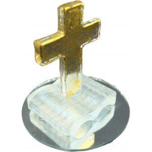 Cristallin livre et croix en verre