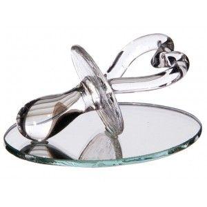 Sujet en verre tétine coeur sur miroir avec tulle